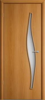 Дверь ламинированная межкомнатная ПО Волна Миланский орех
